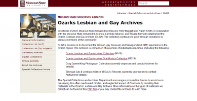 Ozarks Lesbian and Gay Archive